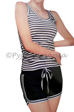 Pyjamas Ladies Summer 2pc Pjs Singlet Short Set (7700) Stripes Sz 8 10 12 14 16