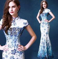 Womens Cheongsam Evening Prom Party Wedding Mermaid Dress Ball Gown Embroidery