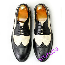 MENS REAL LEATHER WING TIP BROGUE SHOES FORMAL DRESS SHOES LACE UP LOAFERS SIZE