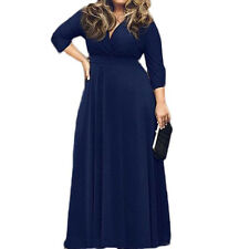 Women's Solid V-Neck 3/4 Sleeve Plus Size Tunic Evening Party Maxi Dress