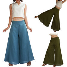 New Summer Beach Long Pants High Waist Flare Loose Fit Wide Leg Palazzo Trousers