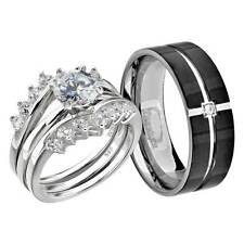 His and Hers Wedding Rings 3 pcs Engagement CZ Sterling Silver Titanium Set EQ