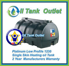 Domestic Heating Oil Storage Tank 1230ltrs Low Profile Single Skin with options