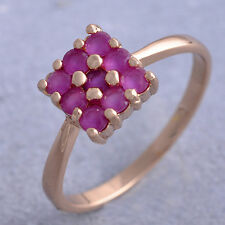 unique Square Red Ruby crystal Promise Love Band Ring Rose Gold Plated Size 8 9