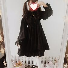 Gothic Retro Style Darkness Palace Lolita Dress Long Sleeve Falbala Black Dress