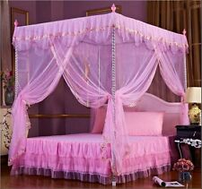 Pink Princess Flower 4 Corner Post Bed Canopy Mosquito Netting Twin Queen King