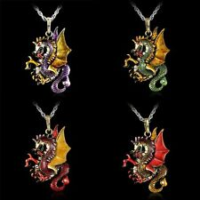 Vintage Crystal Dragon Pendant Necklace Handmade Jewelry Sweater Chain Accessory