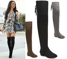 WOMENS LADIES THIGH HIGH OVER THE KNEE BOOTS LOW BLOCK HEELS SEXY ROUNDED TOE