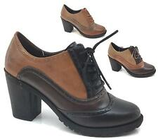 WOMENS LADIES CASUAL OFFICE FAUX LEATHER LACE UP BLOCK HEEL LOAFERS ANKLE SHOES