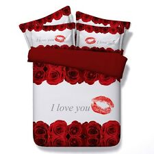 "Twin & Queen Size Red Roses ""I Love You"" Duvet Cover Bedding Set Red & White"