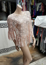 BNWT Lovely Atmosphere Blush Sheer All Lace See Through Top Blouse Size UK 16
