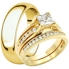 Men & Women Stainless Steel Engagement Wedding CZ Ring Band Set 14K Gold Plated