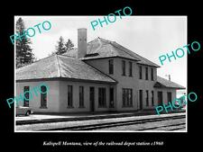 OLD LARGE HISTORIC PHOTO OF KALISPELL MONTANA, THE RAILROAD DEPOT STATION c1960