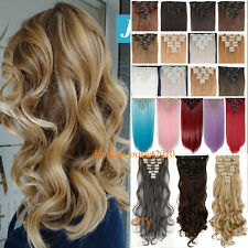 Premium Long Full Head 8Pcs 18Clips Clip In On Hair Extensions Brown Blonde Nc1
