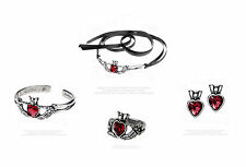 Alchemy Gothic Claddagh by Night Skeleton Set: Bangle Necklace Earrings & Ring