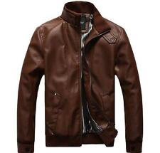 Stylish Mens PU Leather Stand Collar Slim Fit Tops Long Sleeve Short Jacket Coat