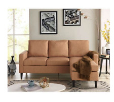 New Living Room Apartment Sofa Sectional Reversible Chaise Lounge Sand or Gray
