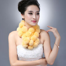 New Women Winter Neck Warm Real Natural Rex Rabbit Fur Scarves Genuine Ball