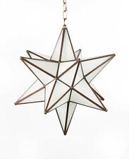 Moravian Star Lamp Frosted Glass Handcrafted Pendant Light Chandelier Metal