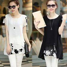 Summer Loose Pullovers Sleeve Blouse Tunic Fashion Short Floral Printed Chiffon