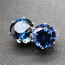 FAST DELIVERY 8mm Silver Tone 18KGP Crystal Zircon Round Stud Earrings 6 Colours