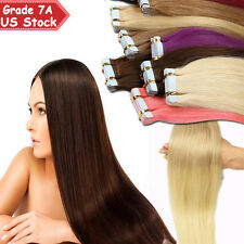 20/40pcs Tape in 100% Virgin Remy Human Hair Extensions Skin Weft EP Wedding US