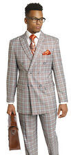 EJ Samuel 1940 Double Breasted Plaid Check Mens Black Orange Suit M2704 Holiday