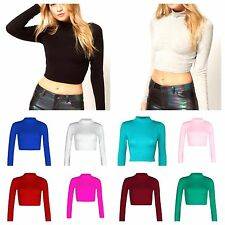 Womens Turtle Polo Neck Crop Top Ladies Long Sleeve Plain Shirt Stretch Top 8-14