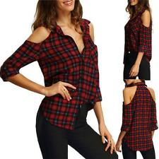 Women Girl Plaid Check T-Shirt Cold Shoulder Loose Long Sleeve Lapel Top Blouse