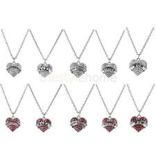 Family Crystal Rhinestone Love Heart Pendant Necklace Long Chain Jewelry Gift