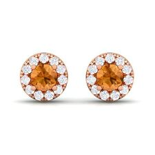Orange Citrine FG SI Diamond Gemstone Womens Halo Stud Earring Rose Gold