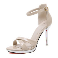 Women Sexy High Heels Strappy Ankle Wrap Sandals Cross Tied Sandals Shoes Size