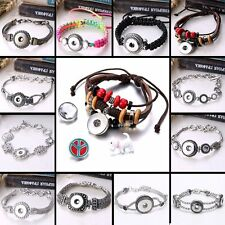 Interchangeable DIY Braided Button Noosa Chunks Bracelet Fit Snap Jewelry Gift