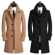 Mens Single Breasted Slim Fit Lapel Long Trench Coat Jacket Stylish outwear Coat