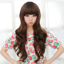 Sexy Women's Long Wigs Curly Wave Style Neat Bangs Wigs Hair for Cosplay