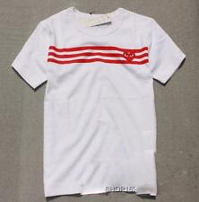 Men's Comme Des Garcons CDG Play Three red StripeTee Women's White T-shirts