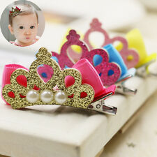 2 PCS Pearl Crown Baby Hair Clip Hairpin Cute Girl Headdress Woman Hairpin Clip