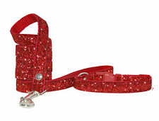 """ red sparkle"" small medium dog puppy collar & lead set 10""- 15"" 5/8 fabric"