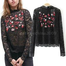 Women's Semi Sheer Sleeve Embroidery Floral Lace T-Shirt Top Blouse New C8Y9