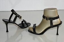 NEW MANOLO BLAHNIK PATENT PERFORATED LEATHER BLACK SANDALS BOW SHOES 40 40.5