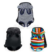 Striped Nylon Pet Puppy Dog Carrier Backpack Front Net Bag Tote Carrier Bag