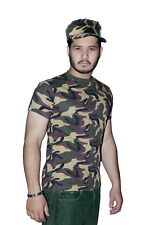 Men Army T-Shirt Camouflage Adult Boys Army Print Camo Fancy Dress Parties Top