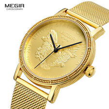 Megir Mens Fashion Gold Quartz Watch Round Dial Stainless Steel Strap Wristwatch
