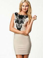 LIPSY SIZE 10 OR 12 APPLIQUE LACE BLACK & NUDE BODYCON DRESS BNWT NEW IN