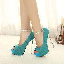 Womens Platform Party Wedding Blinking Stiletto Open Toe Strappy High Heel Shoes