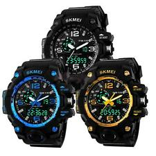 Men Analog Digital Date Sports Rubber Band Quartz Wrist Watch Alarm Waterproof