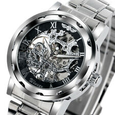 WINNER Skeleton Stainless Steel Strap Band Men Business Mechanical Wrist Watch