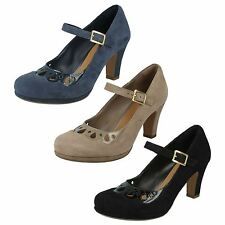 LADIES CLARKS SUEDE HIGH HEEL BUCKLE MARY JANE STYLE COURT SHOES CHORUS MUSIC