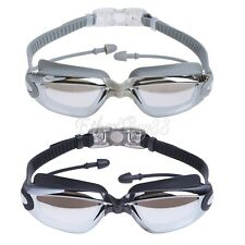 Adult Waterproof Anti-Fog UV Protect Swim Goggles Glass with Ear Plugs Nose Clip