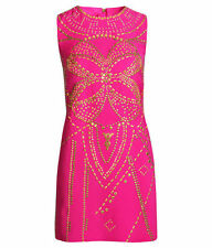 NWT VERSACE H&M HM HOT PINK GOLD STUDDED RIVETS SLEEVELESS SILK DRESS 4 6 34 36